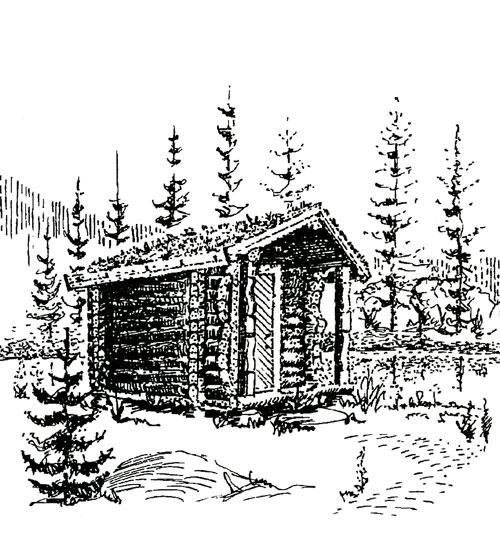 Berg&WIen Massivtre: Håndlaftet anneks. Vanlig størrelse 3,30 x 4,50 meter. Brukes som koie, gjestehus eller fiskebu.