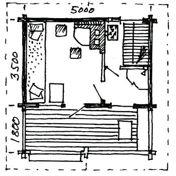 Plantegning: Berg&Wien Massivtre: Håndlaftet badstue med dusj og hvilerom.