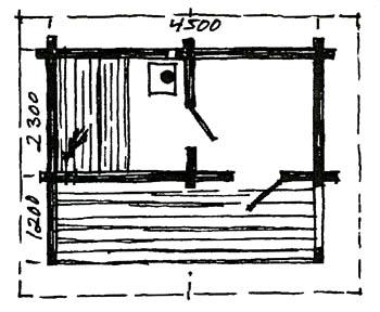 Plantegning: Berg&Wien Massivtre: Håndlaftet badstue med enkelt omkledningsrom