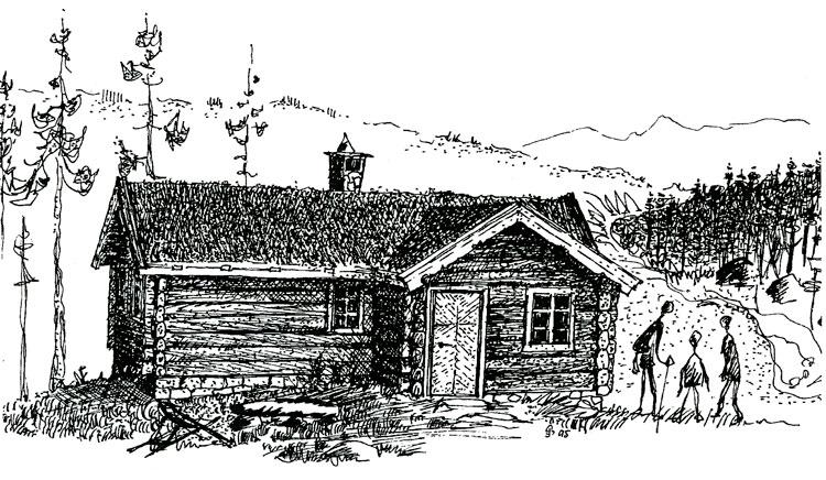"""Berg&Wien Massivtre: """"Bergli"""", tradisjonell hytte i håndlaft på ett plan."""