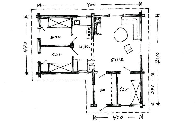 """Plantegning: Berg&Wien Massivtre: """"Bergli"""", tradisjonell hytte i håndlaft på ett plan."""