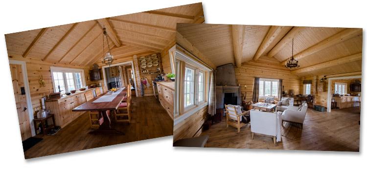 Berg&WIen Massivtre: Hus og hytter i tradisjonell håndlaft - miljøvennlig og godt inneklima. Foto; Bjørn H Stuedal