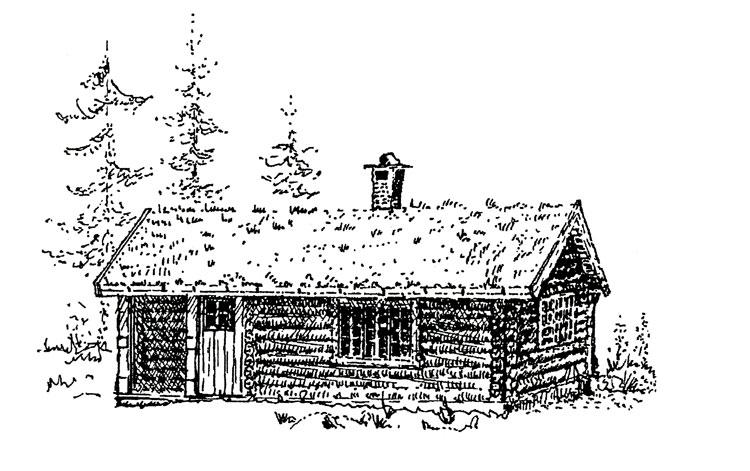 """Berg&Wien Massivtre: """"Jegerbu"""", enkel, tradisjonell hytte i håndlaft på ett plan. Enkel hytte med bebygd areal 47 kvadratmeter, netto 42 kvadratmeter. Kan utformes med hems over soverom. Kvadratisk form og sentralt plassert ildsted gir rask oppvarming."""