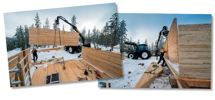 Montering av massivtre-hytte.Massivtrehytter gir miljøvennlige bygg med kort byggetid og godt, sunt inneklima. Foto: Bjørn H Stuedal