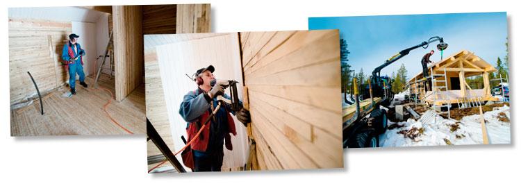Montering av massivtre-hytte. Massivtrehytter gir miljøvennlige bygg med kort byggetid og godt, sunt inneklima. Foto: Bjørn H Stuedal