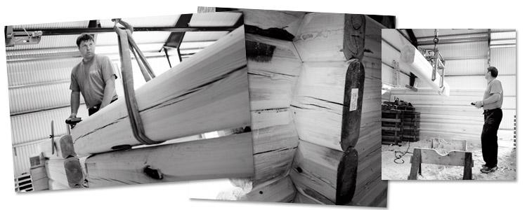 Berg&Wien Massivtre: Håndlaft, produksjon av tømmerhus. Foto: Bjørn H Stuedal