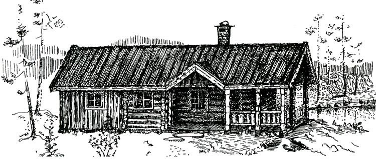 """Plantegning; Berg&Wien Massivtre: """"Røste"""", tradisjonell hytte i håndlaft på ett plan. Middels stor hytte, her tegnet i en versjon med stor overbygd uteplass. Netto areal er 60 kvadratmeter. Utført som på tegningen, har hytta et bebygd areal på 97 kvadratmeter. Her bygd med hems på ca 10 kvadratmeter."""