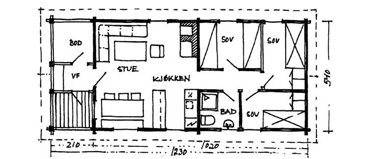 """Plantegning: Berg&Wien Massivtre: """"Sagbu"""", tradisjonell hytte i håndlaft på ett plan. Utført som på tegningen, har hytta et bebygd areal på 66,4 kvadratmeter."""